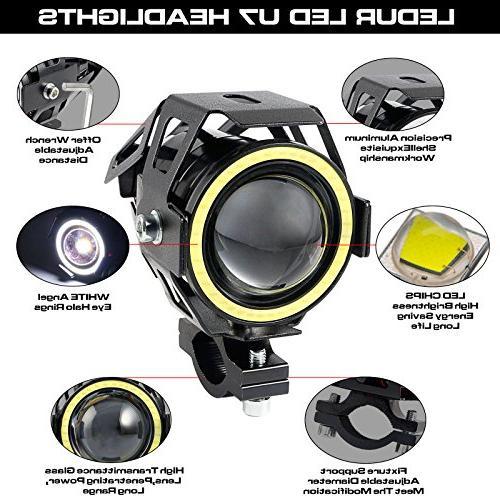 LEDUR Motorcycle Headlight U7 Driving Running Eyes Spotlight Flashing White Light