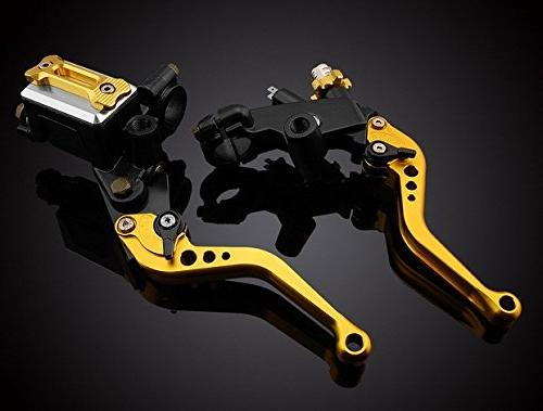 """LUO Racing CNC Brake Cable Levers Kit Gold 7/8"""" 2006 2007 2009 2010 Thruxton"""