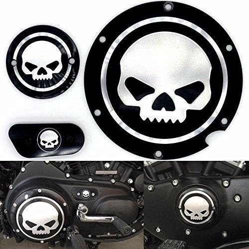 Motorcycle Black Chrome Skull Timing Accessories Engine Derb