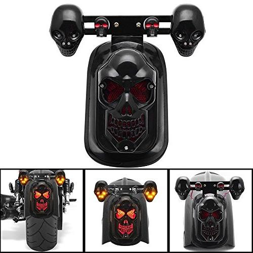 Motorcycle LED Skull Taillight with Turn Signal Rear Brake L