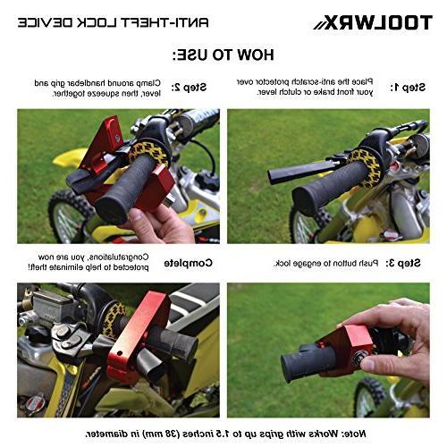Motorcycle Lock Heavy Theft ATVs Dirt Bike use on Grip Brake W/FREE Protector Alarm