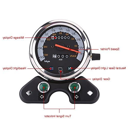 Qiilu Odometer Gear Display,Turn Indicator,Speed LED Backlight,Mileage Display ATV