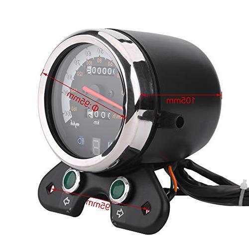 Qiilu Universal Odometer With Gear Display,Headlight Indicator,Speed Pointer ATV Honda
