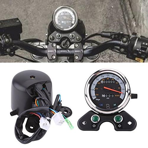 Qiilu Odometer Digital Gear Display,Turn Indicator,Speed Pointer Display ATV Honda Yamaha S