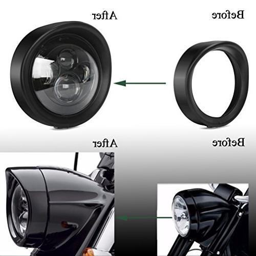 ROCCS Headlight Ring, Lamp Decorate Davidson 83-13 Bikes, Road FLHR,12-14 FLD, 86-14-FLST, 1PC