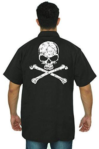 SHORE TRENDZ Men's Mechanic Work Shirt White Skull with Cros