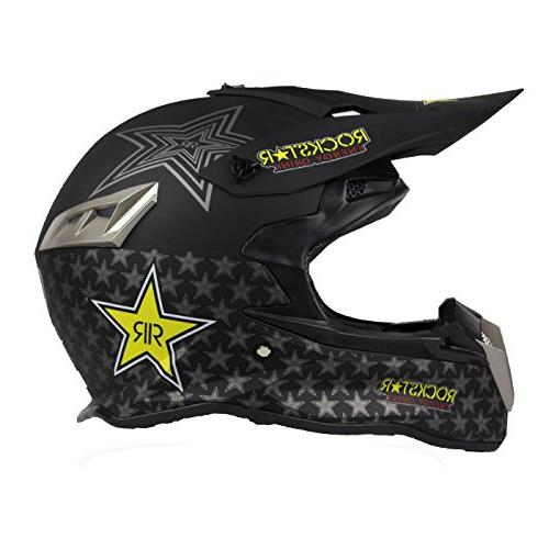 XXL Woljay Dual Sport Off Road Motorcycle Motocross Helmet Dirt Bike ATV D.O.T Certified Rockstar Black