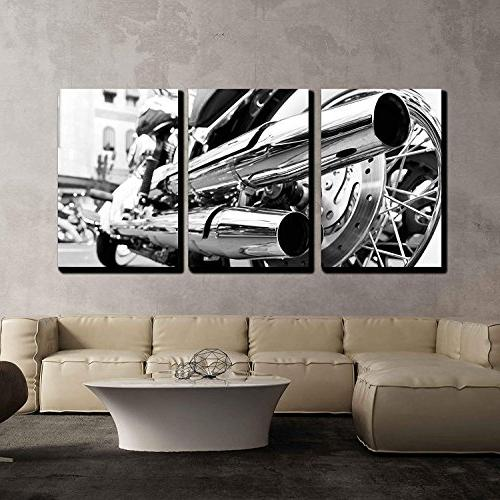 """wall26 - Piece Canvas Motorcycle/Motor and - Modern Stretched Framed to Hang 16""""x24""""x3 Panels"""