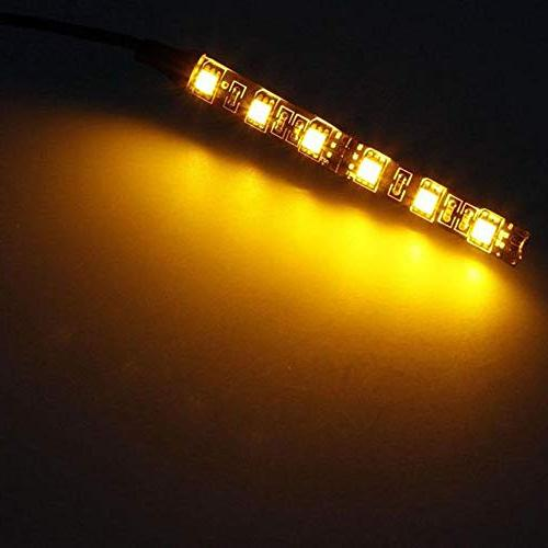 Car LED 12V Black Strip Signal Amber Lights 6LED for Motorcycle Blinkers Car Plate