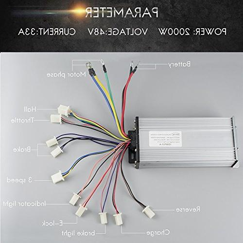 Electric Brushless DC Complete 48V 4300RPM With 15 Mosfet Controller, Battery Display Throttle, Motorcycle Drive DIY Part