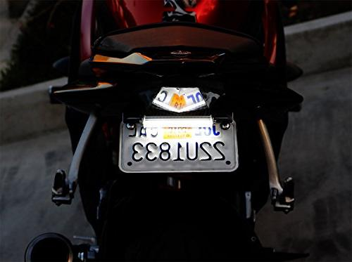 iJDMTOY White License Plate Frame Universal Suzuki Harley Yamaha etc, License High LED Emitters