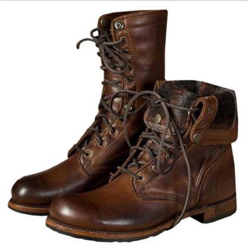 Men Boots Vintage Leather Combat Boot Punk Shoes Top