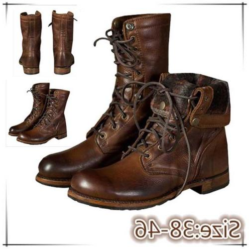 Men Motorcycle Leather Military Punk Shoes High