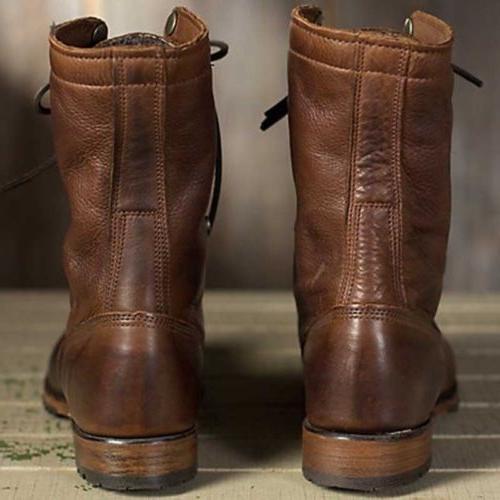 Men Boots Leather Combat Punk Shoes High