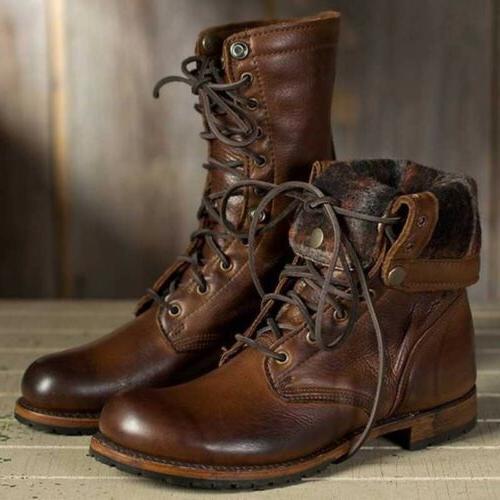 Men Motorcycle Leather Combat Punk Shoes