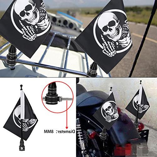 motorcycle skull flag pole