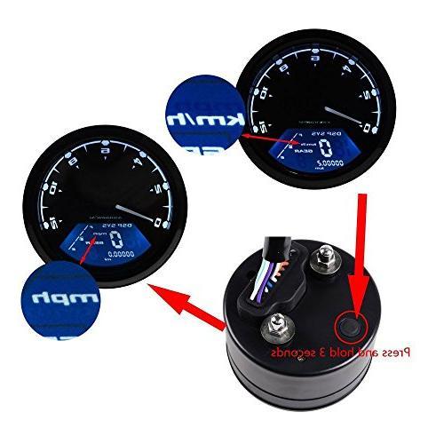 IZTOSS MPH/KMH rpm LCD Speedometer Tachometer Odometer for