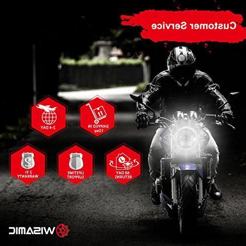 "Wisamic 5-3/4"" 5.75"" LED Headlight - Harley Dyna Street Bob Super Wide Glide Low Rider Train Softail Custom Sportster 883-Black"