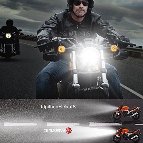 """Wisamic 5.75"""" Headlight - Harley Davidson Dyna Bob Low Rod Sportster 883-Black"""