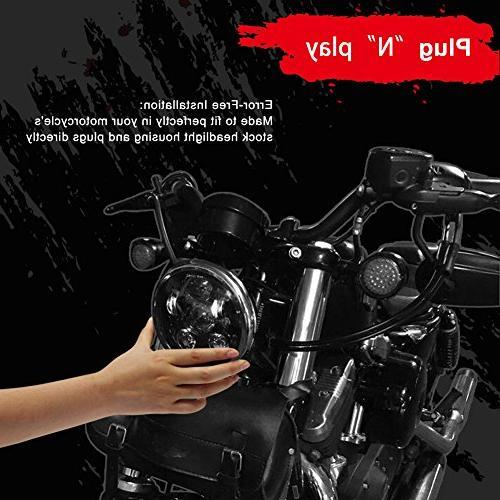 "Wisamic 5-3/4"" Headlight Harley Davidson Bob Super Wide Low Train Softail Custom Sportster 883-Black"