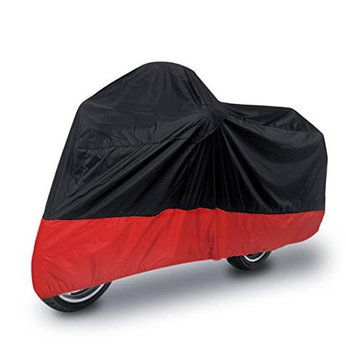 uxcell L 180T Rain Dust Motorcycle Cover Black+Red Outdoor U