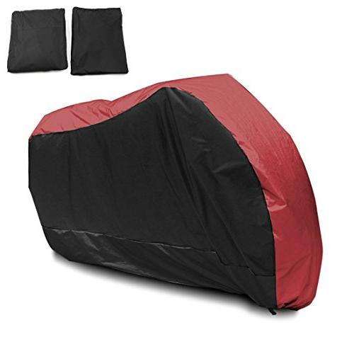 uxcell L 180T Rain Dust Motorcycle Cover Red&Black Outdoor U