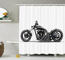 Ambesonne Manly Decor Shower Curtain Set, Custom Made Motorc