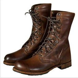 Men Motorcycle Boots Vintage Leather Combat Boot Military Pu