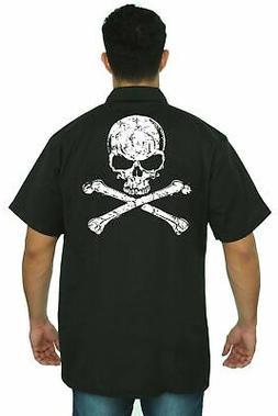 Shore Trendz - Men's Mechanic Work Shirt White Skull With Cr