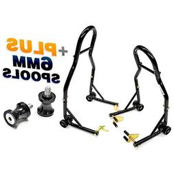 Venom Motorcycle Front+Rear Dual Lift Stand - w/Spools For Y