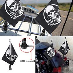 "Kawayee Motorcycle 6"" x 9"" Skull Flag and Flag Pole Mount Fo"