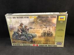 Zvezda Soviet Motorcycle M-72 w/Sidecar & Crew 1:35 Scale Pl