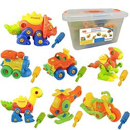 Kidtastic Set of 7 Take Apart Toys - Dinosaurs, Helicopter,