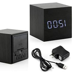 Ultra Modern Wooden LED Digital Alarm Cube Clock Thermometer