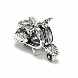 VESPA CLASSIC MOTORCYCLE MOVING PARTS 925 STERLING SILVER BI