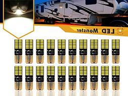 LED Monster 20-Pack White LED Light Bulbs RV Trailer 24-SMD